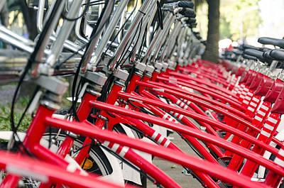 Red Bicycles Art Print by Jess Kraft