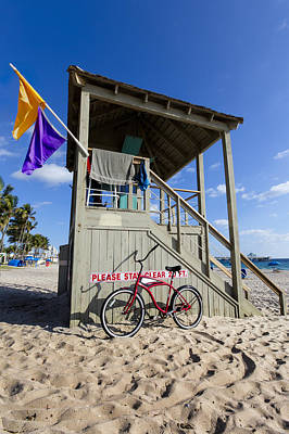 Beach Bicycle Photograph - Red Bike At The Beach by Debra and Dave Vanderlaan