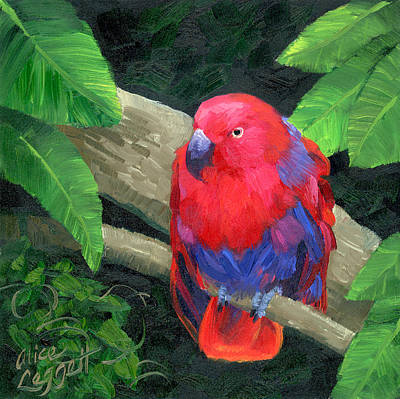 Parakeet Painting - Red Bird by Alice Leggett