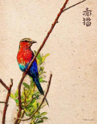 Red Bird Print by Marina Likholat