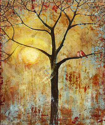 Lovebird Painting - Red Birds Tree Version 2 by Blenda Studio