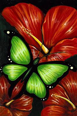 Hibiscus Painting - Red Blooms by Elaina  Wagner