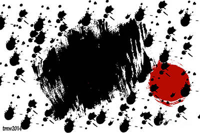 Red Blot Dark Blots Art Print