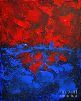 Red Blue Abstract Make It Happen By Chakramoon Art Print by Belinda Capol