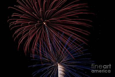 Red Blue Fireworks Art Print by Jason Meyer