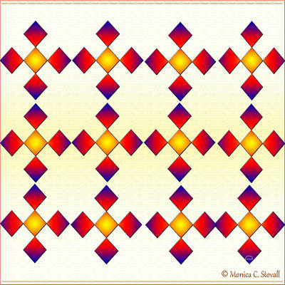 Digital Art - Red Blue Gold Diamonds On White And Pale Yellow Design by Monica C Stovall