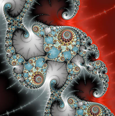 Digital Art - Red Blue Grey Math Fractal Art Square Format by Matthias Hauser