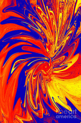 Digital Art - Red Blue Orange Red Yellow Swirl by Christopher Shellhammer
