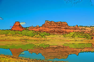 Red Bluff Reflection Art Print