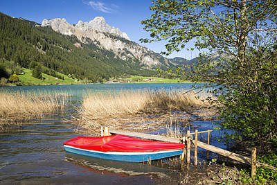 Photograph - Red Boat Beautiful Lake And Mountains by Matthias Hauser