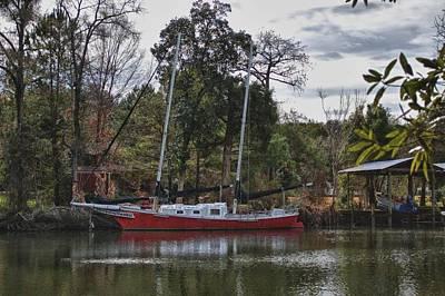 Digital Art - Red Boat Closeup by Michael Thomas
