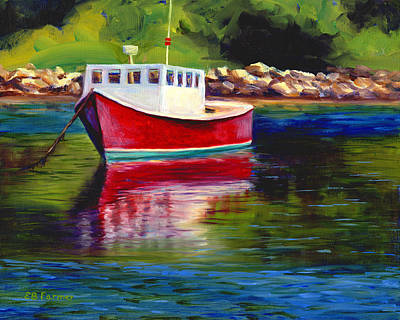 Maine Painting - Red Boat, Rockport, Me by Elaine Farmer