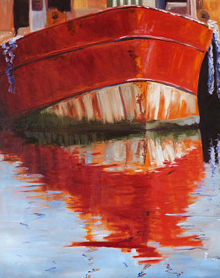 Blue Lake Crab Painting - Red Boat by Nancy Merkle