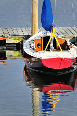 Photograph - Red Boat Reflections Rockland Maine by Marianne Campolongo