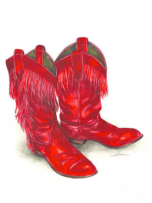 Red Boots Print by Nan Wright