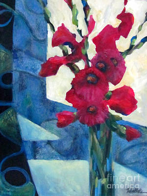 Gladiola Painting - Red Bouquet 2 by Wendy Westlake