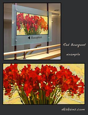 Crocosmia Painting - Red Bouquet Too by Dorinda K Skains