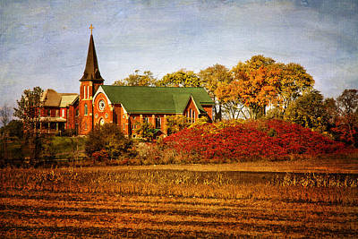 Photograph - Red Brick Church In Autumn by Peggy Collins