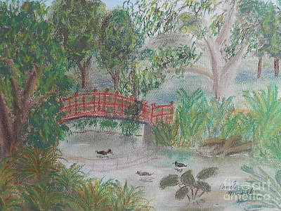 Red Bridge At Wollongong Botanical Gardens Art Print