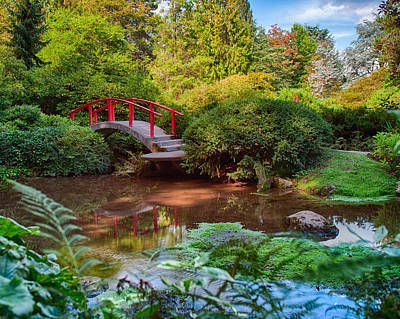 Photograph - Red Bridge Calm Garden by Jonah Anderson