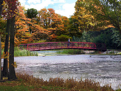 Photograph - Red Bridge In Autumn by Cedric Hampton
