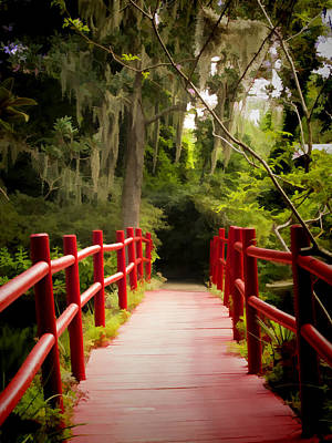 Painterly Photograph - Red Bridge In Southern Plantation by David Smith