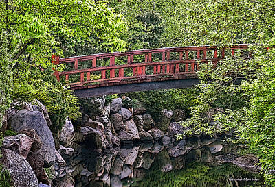 Red Bridge Over Creek Art Print