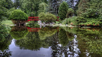 Red Bridge Reflection Art Print by Michael Donahue