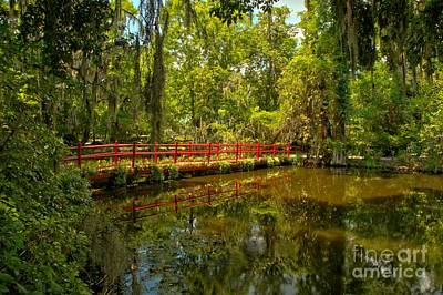 Photograph - Red Bridge Through The Gardens by Adam Jewell