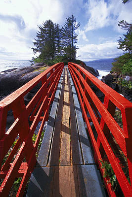 Red Bridge To Nowhere Art Print by Kim Lessel