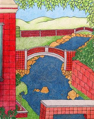 Red Bridges Art Print