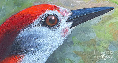 Woodpecker Mixed Media - Red Brings Hope - Upclose by GG Burns