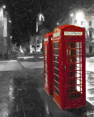Red British Phone Box On The Streets Of Edinburgh Print by Mark E Tisdale