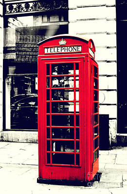 Tele Photograph - Red British Telephone Booth by Joan McCool