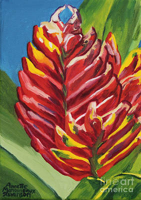Painting - Red Bromeliad by Annette M Stevenson