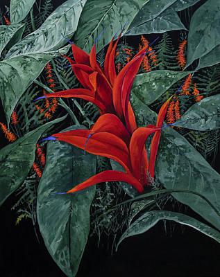Red Bromeliad Original by Virginia McLaren