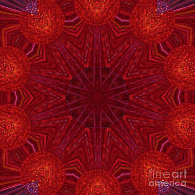 Concentration Digital Art - Red Bubbles On Dark Red Starburst by Dawn Boyer