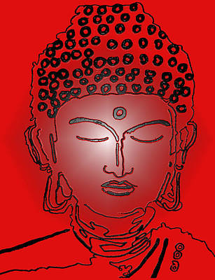 Digital Art - Red Buddha by Christine Perry