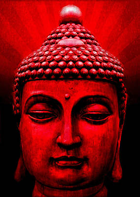 Mixed Media - Red Buddha by Michelle Dallocchio