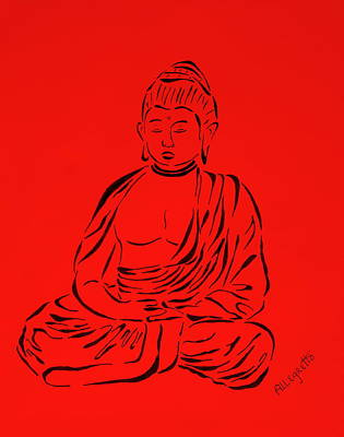 Minimal Drawing - Red Buddha by Pamela Allegretto