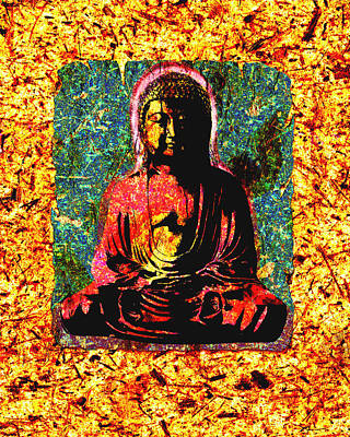 Mixed Media - Red Buddha by Peter Cutler