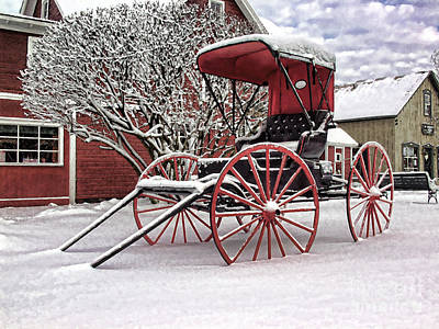 Art Print featuring the photograph Red Buggy At Olmsted Falls - 1 by Mark Madere