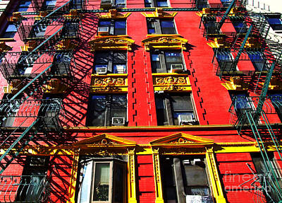 China Town Photograph - Red Building With Fire Escapes by Nishanth Gopinathan