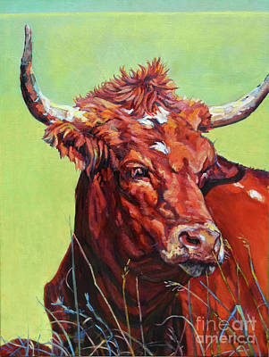 Animal Portrait Painting - Red Bull by Patricia A Griffin
