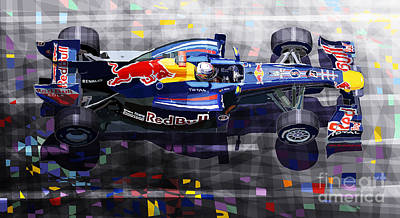 Transportation Mixed Media - Red Bull Rb6 Vettel 2010 by Yuriy  Shevchuk