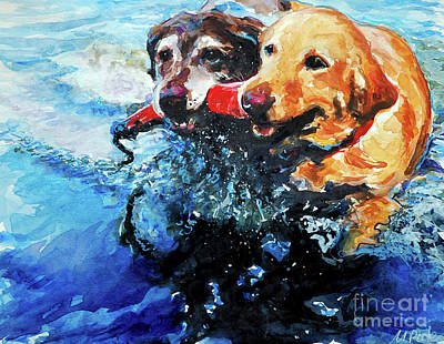 Water Retrieve Painting - Red Bumper by Molly Poole