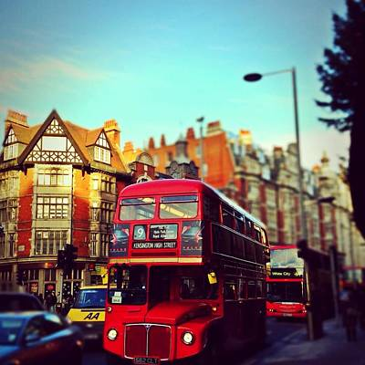 Photograph - Red Bus On High Street Kensington by Maeve O Connell