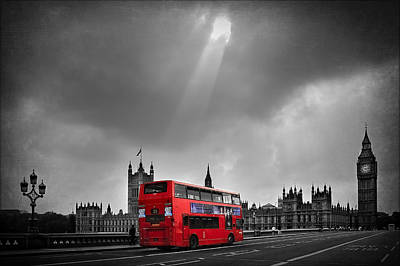 Big Ben Wall Art - Photograph - Red Bus by Svetlana Sewell