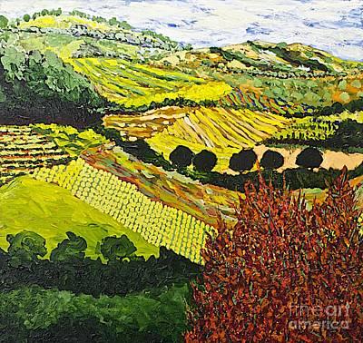 California Vineyard Painting - Red Bush by Allan P Friedlander