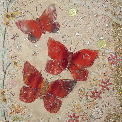 Red Butterflies Art Print by Hazel Millington